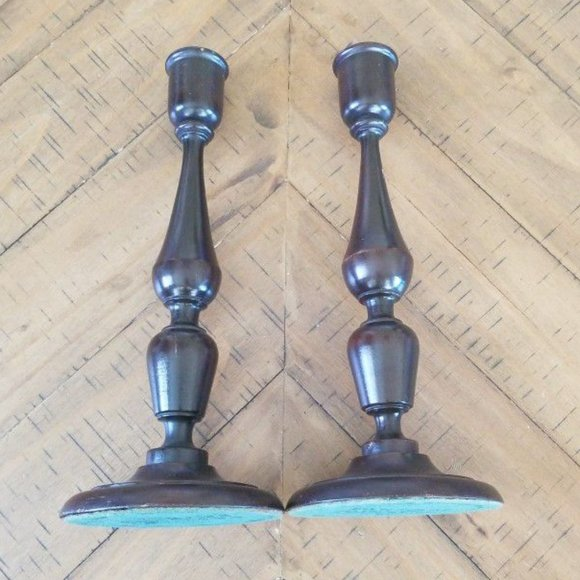Antique Wooden Candle Holders By Parsons Products